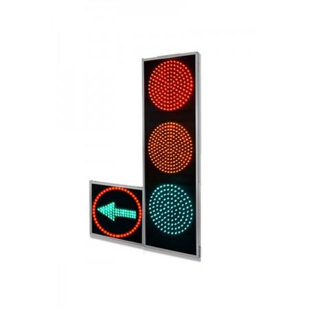Светофор транспортный светодиодный 200мм. Т1Л1 / Т1П1 дорожный с одной доп. секцией (стрелка право или лево)