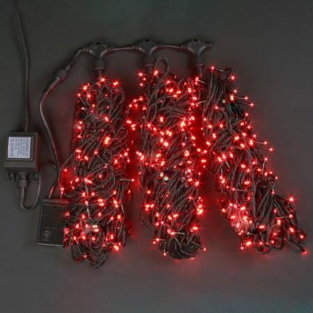 """Гирлянда """"LED ClipLight"""" свечение с динамикой, 24V, контроллер 3 нити по 20 метров, КРАСНЫЙ"""