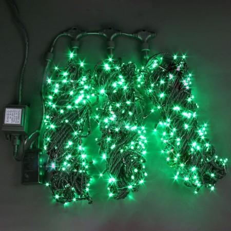 """Гирлянда """"LED ClipLight"""" свечение с динамикой, 24V, контроллер 3 нити по 20 метров, ЗЕЛЁНЫЙ"""