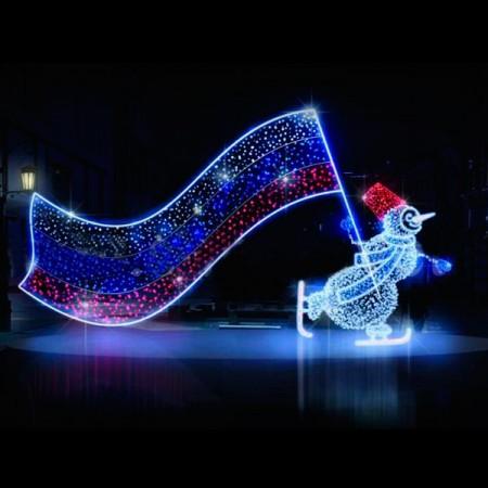 """Светодиодная конструкция большая """"Снеговик на коньках"""" LED-303"""