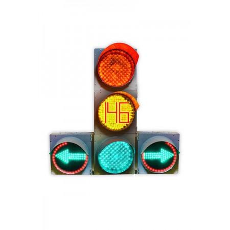 Светофор 300 мм. транспортный Т.1.ПЛ.2 (С ТООВ) светодиодный дорожный с двумя доп. секциями (стрелками)