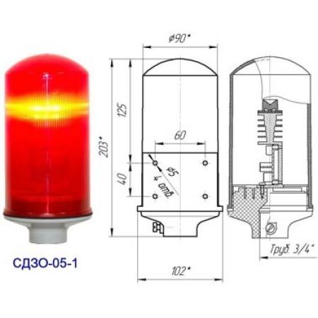 Заградительный огонь «СДЗО-05-1» >10cd, тип «А», 220V AC, IP54